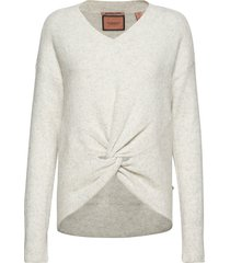 crewneck knit with knot detail at hem gebreide trui grijs scotch & soda