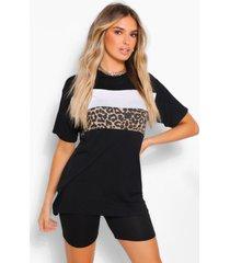 contrasterend colour block luipaardprint t-shirt, zwart