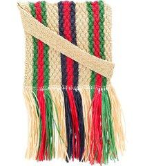 gucci striped straw shoulder bag - neutrals