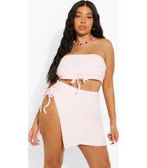 plus badstoffen bikini broekje met hoge taille, pastel pink