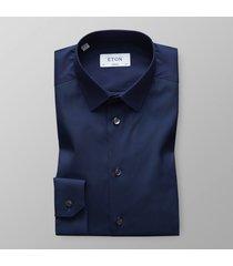 eton heren overhemd poplin super slim fit straight point blauw