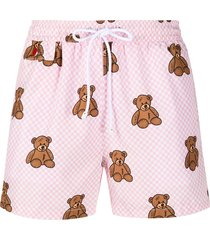 kiton bear print checkered swim shorts - pink