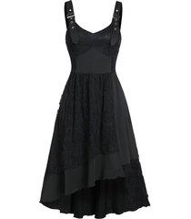 buckle strap cami lace asymmetric hem dress