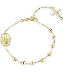 chloe & madison women's 14k goldplated sterling silver rosary bracelet