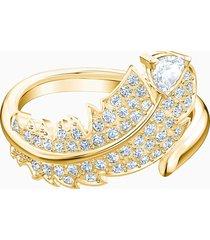 anello con motivo nice, bianco, placcato oro
