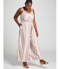 lane bryant women's mitered-stripe crop jumpsuit 28 multi stripe