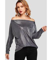 camiseta con hombros descubiertos lisa plisada gris oscuro
