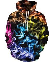 aurora color print pocket hoodie