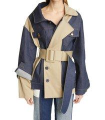 women's monse asymmetrical belted denim trench jacket, size medium - blue