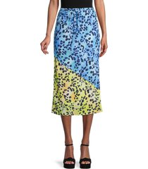central park west women's animal-print drawstring skirt - blue yellow - size l
