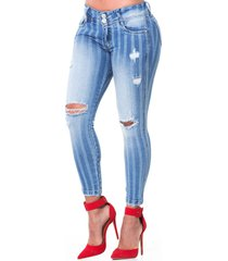 jean skinny efecto rayas azul trucco's jeans 5467