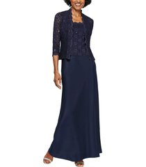 women's alex evenings sequin lace & satin gown with jacket, size 16 - blue