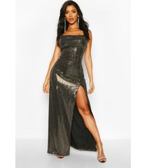 sequin cowl neck high split maxi dress, gold
