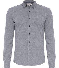 camisa masculina malha piquet - cinza