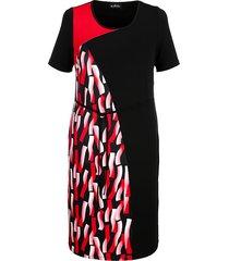 jersey jurk m. collection zwart::rood::wit