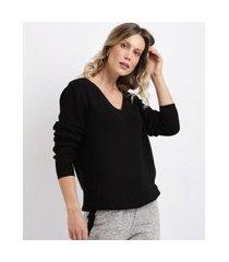 suéter feminino em tricô canelado decote v preto