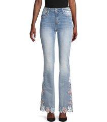 driftwood women's isabel floral-appliqué flare jeans - light wash - size 26 (2-4)