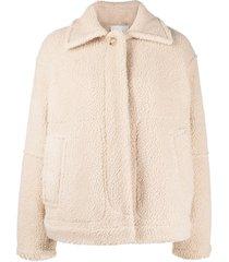 vince drop-shoulder shearling jacket - neutrals
