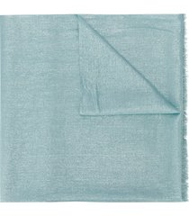 brunello cucinelli metallized frayed scarf - blue