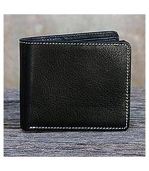 men's leather wallet, 'forever in black' (thailand)
