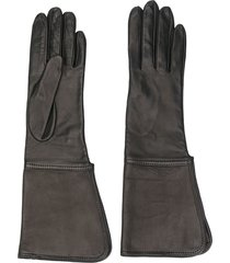 manokhi stitch wide leather gloves - black