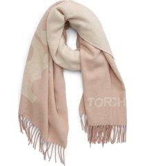 women's tory burch logo fringe wool scarf, size one size - pink