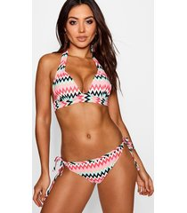 zig zag push up enhance plunge bikini, multi