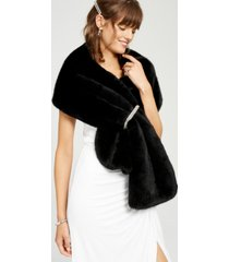 adrianna papell embellished faux-fur shrug