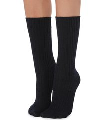 calzedonia - short ribbed socks with wool and cashmere, one size, blue, women
