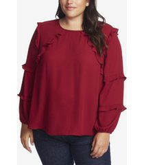 cece women's plus long sleeve tiered ruffle blouse