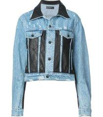 amiri leather panel trucker jacket - blue