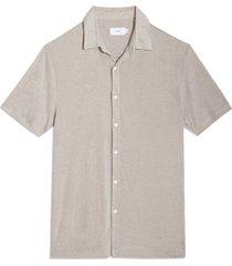 men's onia dylan short sleeve button-up linen blend knit shirt
