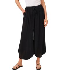 1.state drawstring wide leg pants, size large in rich black at nordstrom