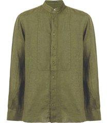 military green linen shirt with korean collar