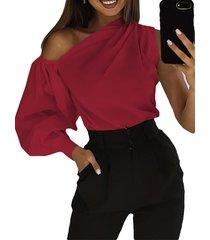 camicetta allentata della spalla di colore solido one del manicotto di sbuffo sexy