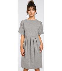 sukienka dresowa z zakładkami