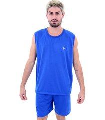 pijama malha fria soneca & cia azul royal - azul - masculino - dafiti
