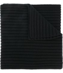 stone island thick ribbed knit scarf - black