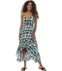 vestido pabilo largo volantes petroleo tropical mujer corona