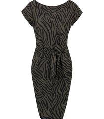 strik jurk zebraprint legergroen