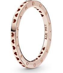 anel rosetm corações pandora signature