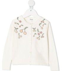 bonpoint cherry-embroidered cardigan - neutrals