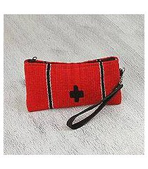 leather accent zapotec wool wristlet, 'poppy passion' (mexico)