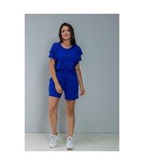 conjunto azul bic shorts + t-shirt c/ babado coleção dona de mim multicolorido