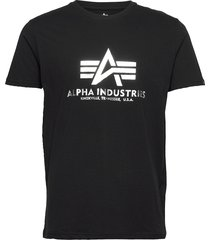 basic t-shirt foil print t-shirts short-sleeved svart alpha industries