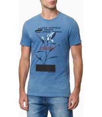 camiseta masculina alternative azul média calvin klein jeans - pp
