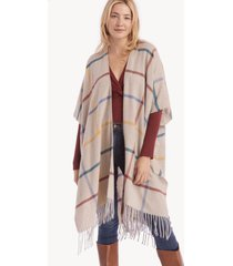 women's windowpane kimono with fringe taupe multi one size from sole society