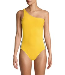norma kamali women's side stripe one-piece swimsuit - yellow multicolor stripe - size s