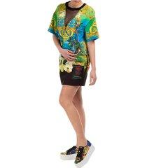 vestito abito donna corto miniabito manica corta tropical island