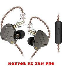 audífonos kz zsn pro monitores in ear alta fidelidad micrófono - negro